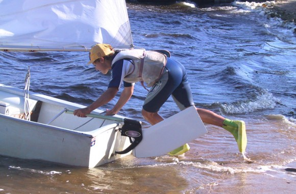 Dotan Rudder is installed on  Optimist before launching