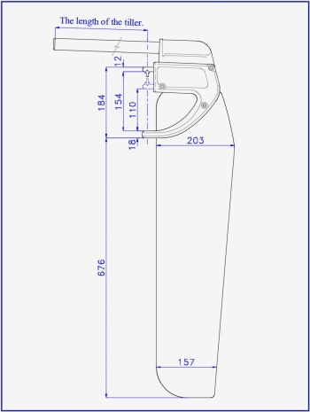 Scheme of the Dotan rudder for a sports catamaran and a tourist boat or sailboat
