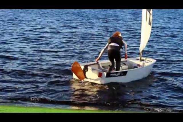 Dotan revolutionary kick-up rudder system for Optimist
