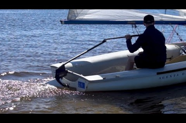 The rudder blade automatically kicks up as you hit the shore