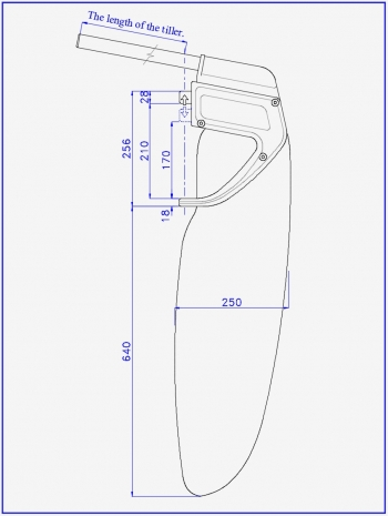 Drawing of the kick-up rudder for a sports and tourism catamaran