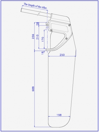 Drawing of rudders for sports and tourism catamaran or sailing boat