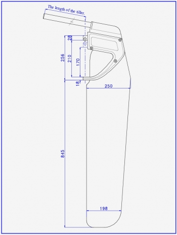 Scheme of the rudder for a sports catamaran and a tourist boat or sailboat